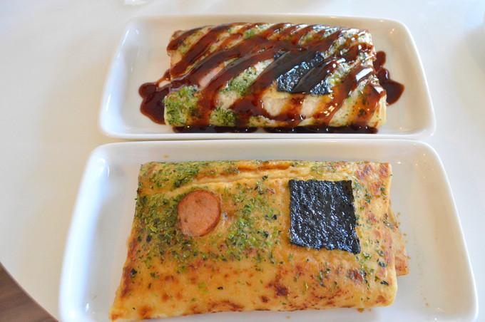 どんどん焼きカフェ-カシワヤ-注文3-どんどん焼き(ソース-しょうゆ)